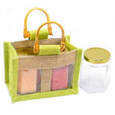 Two Jar Jute Gift Bag - Green