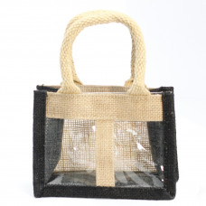 Two Jar Jute Gift Bag - Black - Soft Handle
