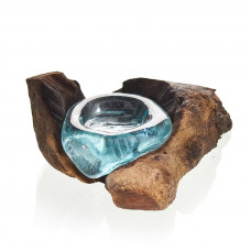 Molten Glass on Wood - Candle Holder