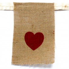 Natural Bunting  I LOVE YOU (small with hearts)