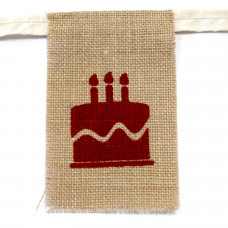 Natural Bunting  HAPPY BIRTHDAY (small with cake)